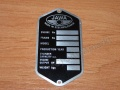 Serial number plate JAWA 360/559 - English